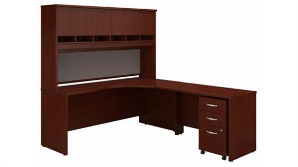 """Corner Desks Bush Furniture 72"""" W Right Handed Corner Desk with Hutch and Assembled 3 Drawer Mobile File Cabinet"""