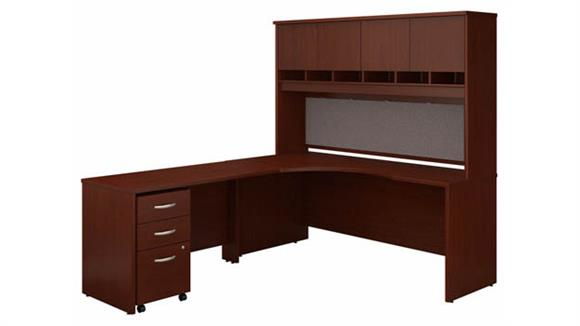 """Corner Desks Bush Furniture 72"""" W Left Handed Corner Desk with Hutch and Assembled 3 Drawer Mobile File Cabinet"""