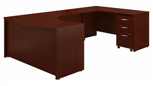 """U Shaped Desks Bush Furniture 60"""" W Right Handed Bow Front U-Shaped Desk with Assembled Mobile File Cabinet"""