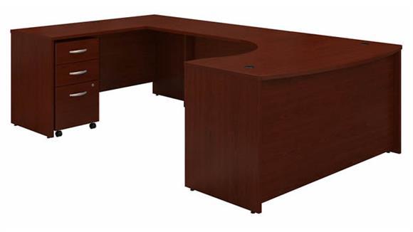 """U Shaped Desks Bush Furniture 60"""" W Left Handed Bow Front U-Shaped Desk with Assembled Mobile File Cabinet"""
