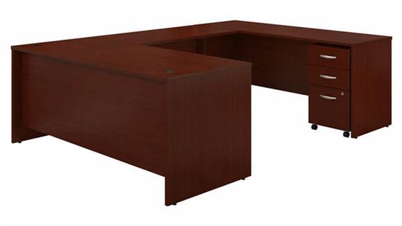 """U Shaped Desks Bush Furniture 72"""" W x 30"""" D U-Shaped Desk with Assembled Mobile File Cabinet"""