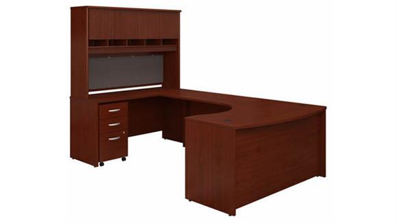 """U Shaped Desks Bush Furniture 60"""" W Left Handed Bow Front U-Shaped Desk with Hutch and Assembled Mobile File Cabinet"""