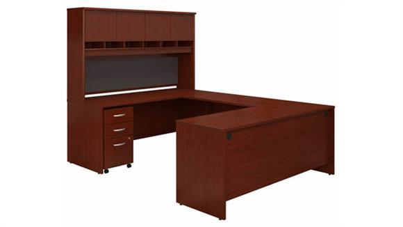 "U Shaped Desks Bush Furniture 72"" W U-Shaped Desk with Hutch and Assembled Mobile File Cabinet"