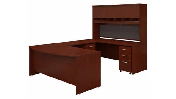 "U Shaped Desks Bush Furniture 72"" W Bow Front U-Shaped Desk with Hutch and (2) Assembled Mobile File Cabinets"