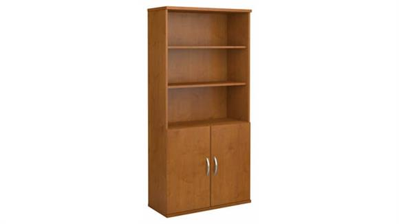 """Bookcases Bush Furniture 36"""" W 5 Shelf Bookcase with Doors"""