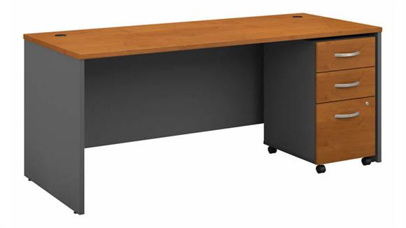 "Computer Desks Bush Furniture 72""W x 30""D Office Desk with Assembled Mobile File Cabinet"