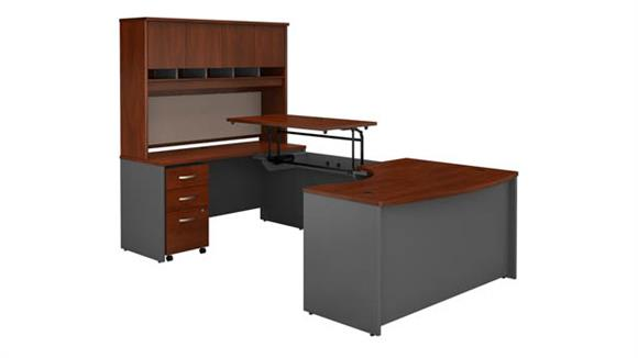 "Adjustable Height Desks & Tables Bush Furniture 60""W x 43""D Left Hand 3 Position Sit to Stand U Shaped Desk with Hutch and Mobile File Cabinet"