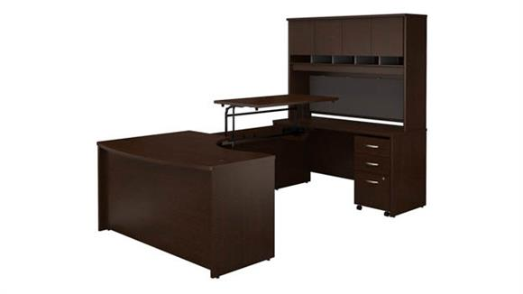 "Adjustable Height Desks & Tables Bush Furniture 60""W x 43""D Right Hand 3 Position Sit to Stand U Shaped Desk with Hutch and Mobile File Cabinet"