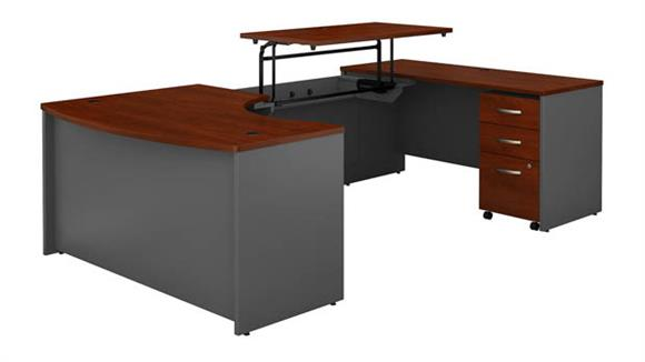 "Adjustable Height Desks & Tables Bush Furniture 60""W x 43""D Right Hand 3 Position Sit to Stand U Shaped Desk with Mobile File Cabinet"
