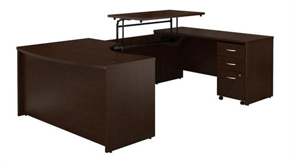 """Adjustable Height Desks & Tables Bush Furniture 60""""W x 43""""D Right Hand 3 Position Sit to Stand U Shaped Desk with Mobile File Cabinet"""