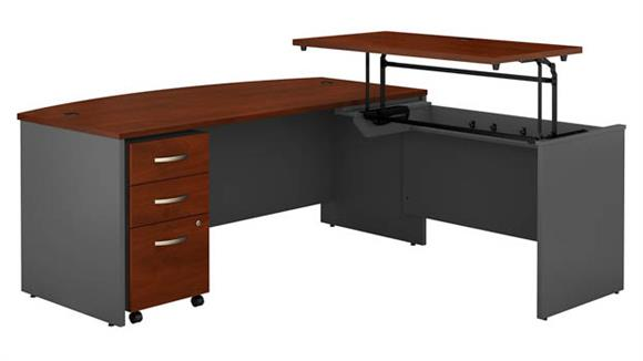 "Adjustable Height Desks & Tables Bush Furniture 72""W x 36""D 3 Position Bow Front Sit to Stand L Shaped Desk with Mobile File Cabinet"