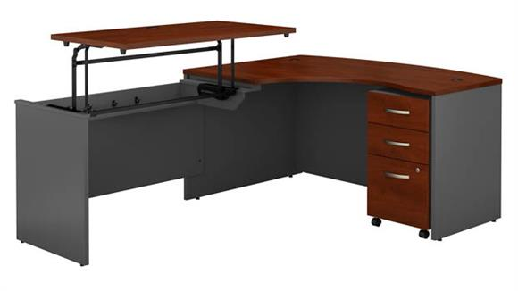 "Adjustable Height Desks & Tables Bush Furniture 60""W x 43""D Left Hand 3 Position Sit to Stand L Shaped Desk with Mobile File Cabinet"