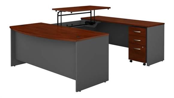 "Adjustable Height Desks & Tables Bush Furniture 72""W x 36""D 3 Position Sit to Stand Bow Front U Shaped Desk with Mobile File Cabinet"