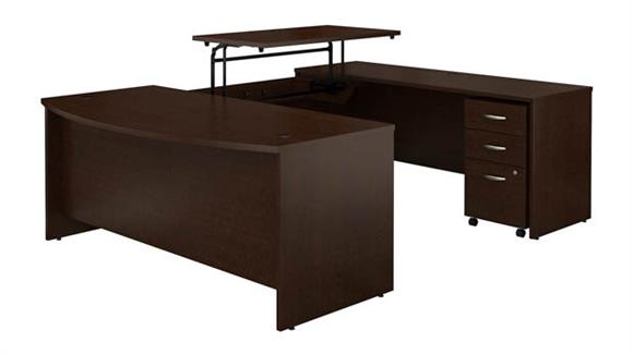"""Adjustable Height Desks & Tables Bush Furniture 72""""W x 36""""D 3 Position Sit to Stand Bow Front U Shaped Desk with Mobile File Cabinet"""