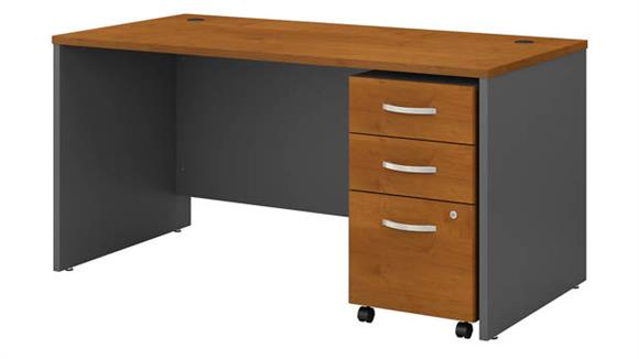 """Computer Desks Bush Furniture 60""""W x 30""""D Office Desk with Assembled 3 Drawer Mobile File Cabinet"""