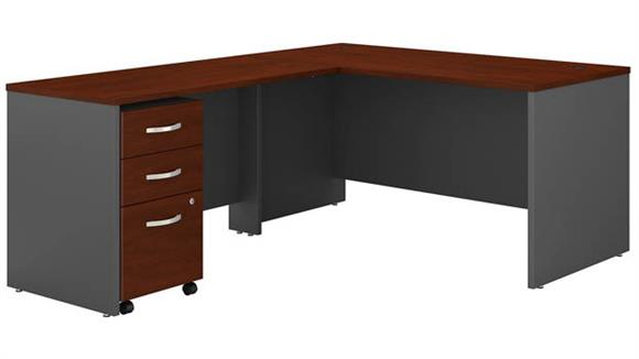 "L Shaped Desks Bush Furniture 60""W L-Shaped Desk with Assembled 3 Drawer Mobile File Cabinet"