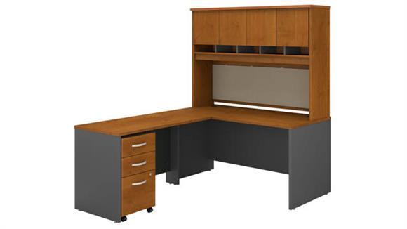 "L Shaped Desks Bush Furniture 60"" W L-Shaped Desk with Hutch and Assembled Mobile File Cabinet"