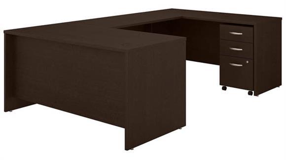 """U Shaped Desks Bush Furniture 60""""W U-Shaped Desk with 3 Drawer Mobile File Cabinet"""