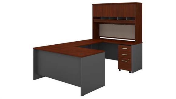 "U Shaped Desks Bush Furniture 60""W U-Shaped Desk with Hutch and Mobile File Cabinet"