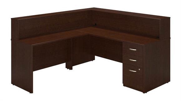 "Reception Desks Bush Furniture 72""W x 30""D L Reception Station with Storage"