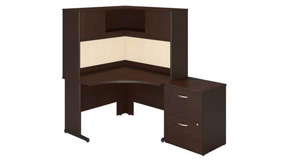 "Corner Desks Bush Furniture 48""W x 48""D C Leg Corner Desk with Storage"