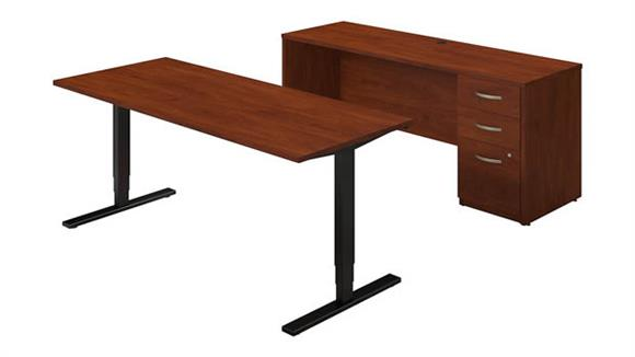 "Standing Height Desks Bush Furniture 72""W Height Adjustable Standing Desk with Credenza"