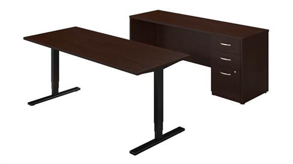 "Standing Height Desks Bush Furniture 72""W Height Adjustable Standing Desk with Credenza"