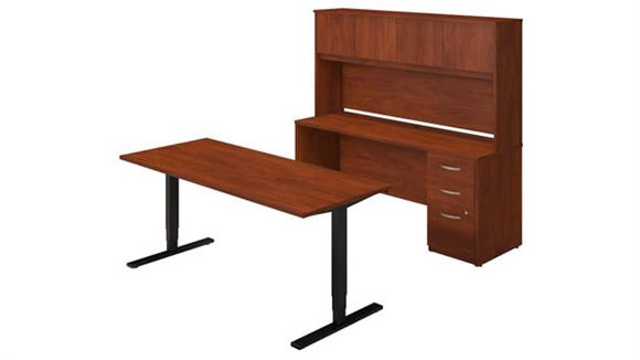 "Standing Height Desks Bush Furniture 72""W Height Adjustable Standing Desk with Credenza and Hutch"