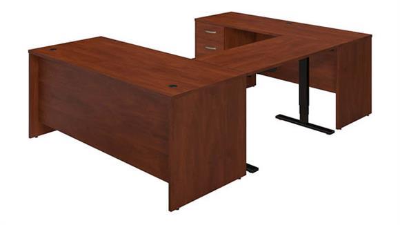 "U Shaped Desks Bush Furniture 72""W U-Station with Height Adjustable Standing Bridge"
