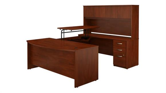 "Adjustable Height Desks & Tables Bush Furniture 72""W x 36""D 3 Position Sit to Stand Bow Front U Shaped Desk with Hutch and 3 Drawer File Cabinet"