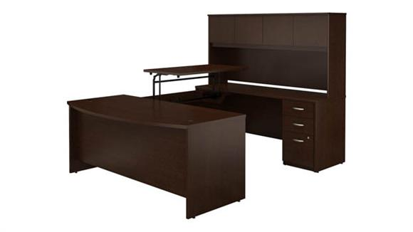"""Adjustable Height Desks & Tables Bush Furniture 72""""W x 36""""D 3 Position Sit to Stand Bow Front U Shaped Desk with Hutch and 3 Drawer File Cabinet"""