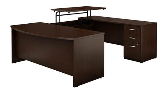 """Adjustable Height Desks & Tables Bush Furniture 72""""W x 36""""D 3 Position Sit to Stand Bow Front U Shaped Desk with 3 Drawer File Cabinet"""