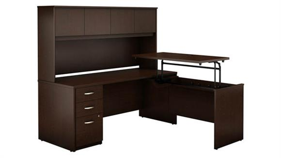 """Adjustable Height Desks & Tables Bush Furniture 72""""W x 30""""D 3 Position Sit to Stand L Shaped Desk with Hutch and 3 Drawer File Cabinet"""