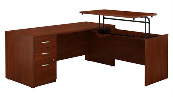 "Adjustable Height Desks & Tables Bush Furniture 72""W x 30""D 3 Position Sit to Stand L Shaped Desk with 3 Drawer File Cabinet"