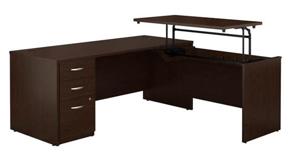 """Adjustable Height Desks & Tables Bush Furniture 72""""W x 30""""D 3 Position Sit to Stand L Shaped Desk with 3 Drawer File Cabinet"""