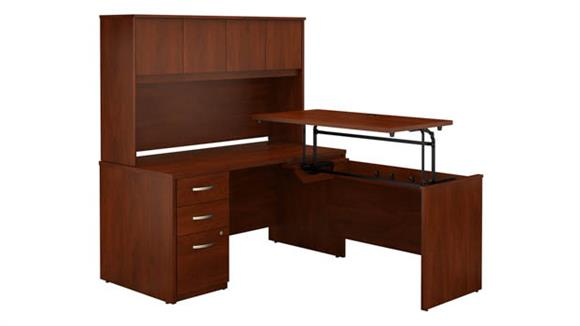 "Adjustable Height Desks & Tables Bush Furniture 60""W x 30""D 3 Position Sit to Stand L Shaped Desk with Hutch and 3 Drawer File Cabinet"