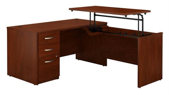 "Adjustable Height Desks & Tables Bush Furniture 60""W x 30""D 3 Position Sit to Stand L Shaped Desk with 3 Drawer File Cabinet"