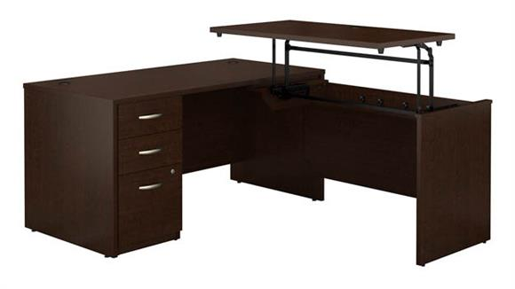 """Adjustable Height Desks & Tables Bush Furniture 60""""W x 30""""D 3 Position Sit to Stand L Shaped Desk with 3 Drawer File Cabinet"""
