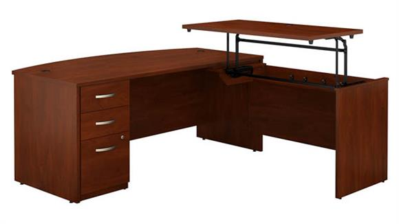 "Adjustable Height Desks & Tables Bush Furniture 72""W x 36""D 3 Position Sit to Stand Bow Front L Shaped Desk with 3 Drawer File Cabinet"