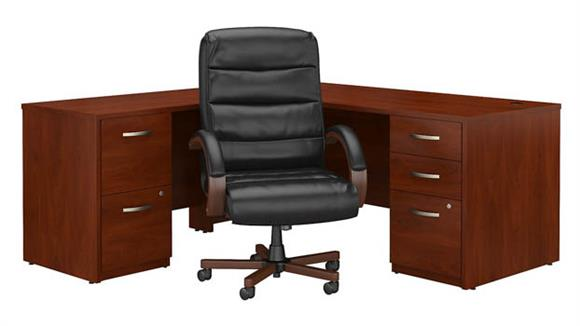 "L Shaped Desks Bush Furniture 72""W L Shaped Desk with File Cabinets and High Back Executive Office Chair"