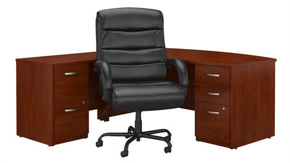 "L Shaped Desks Bush Furniture 72""W Bow Front L Shaped Desk with File Cabinets and Big and Tall Office Chair"
