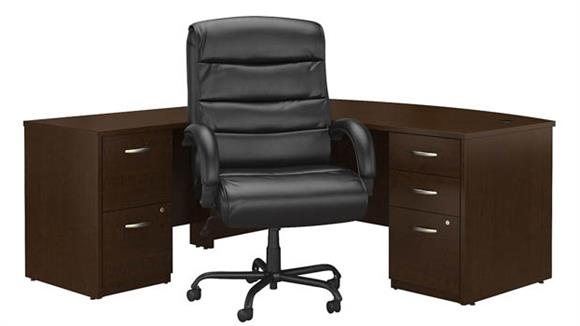 """L Shaped Desks Bush Furniture 72""""W Bow Front L Shaped Desk with File Cabinets and Big and Tall Office Chair"""