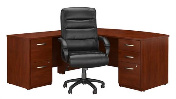 "L Shaped Desks Bush Furniture 72""W Bow Front L Shaped Desk with File Cabinets and High Back Office Chair"