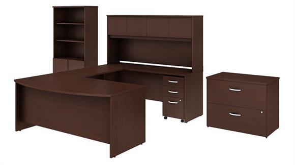 "U Shaped Desks Bush Furniture 72""W x 36""D U-Shaped Desk with Hutch, Bookcase and 2 File Cabinets"
