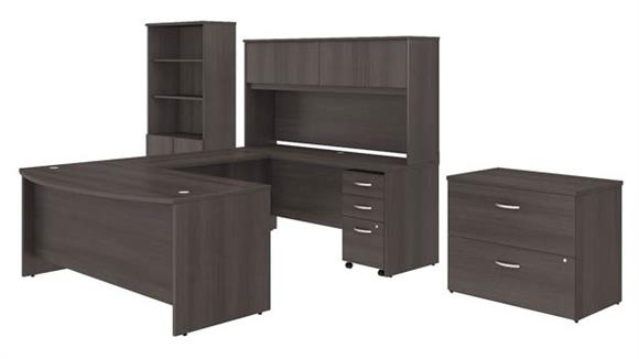 "U Shaped Desks Bush Furniture 72""W x 36""D U Shaped Desk with Hutch, Bookcase and File Cabinets"