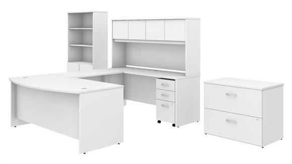 "U Shaped Desks Bush Furniture 72""W x 36""D U-Shaped Desk with Hutch, Bookcase and File Cabinets"