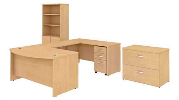 "U Shaped Desks Bush Furniture 60""W x 36""D U-Shaped Desk with Bookcase and 2 File Cabinets"