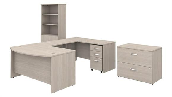 "U Shaped Desks Bush Furniture 60""W x 36""D U-Shaped Desk with Bookcase and 2 Assembled File Cabinets"