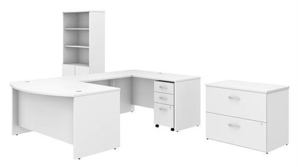 "U Shaped Desks Bush Furniture 60""W x 36""D U-Shaped Desk with Bookcase and File Cabinets"