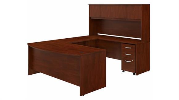 "U Shaped Desks Bush Furniture 72"" W x 36"" D U-Shaped Desk with Hutch and Assembled Mobile File Cabinet"